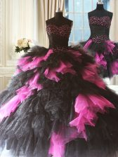 Vintage Pink And Black Tulle Lace Up Sweetheart Sleeveless Floor Length Sweet 16 Quinceanera Dress Beading and Ruffles