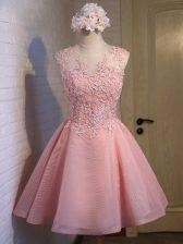 Glorious Scoop Sleeveless Lace Up Dama Dress Pink Organza