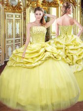 Best Selling Gold Ball Gowns Strapless Sleeveless Taffeta Floor Length Lace Up Beading and Pick Ups Quince Ball Gowns