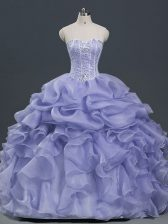Lavender Ball Gowns Organza Sweetheart Sleeveless Beading and Ruffles and Pick Ups Floor Length Lace Up Quince Ball Gowns