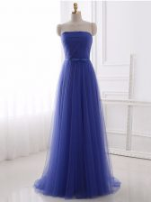 Edgy Sleeveless Beading and Belt Zipper Prom Gown