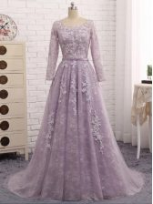 Shining Tulle Sleeveless Prom Evening Gown Brush Train and Beading and Appliques