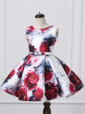 Lovely Multi-color Scoop Zipper Pattern and Belt Kids Pageant Dress Sleeveless