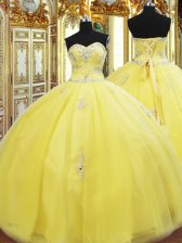 Floor Length Ball Gowns Sleeveless Gold Sweet 16 Quinceanera Dress Lace Up