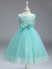Sleeveless Tulle Knee Length Zipper Child Pageant Dress in Apple Green with Lace and Bowknot