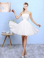 High End White Sleeveless Knee Length Appliques Lace Up Quinceanera Court of Honor Dress