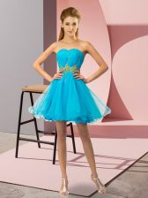 Baby Blue Sleeveless Tulle Zipper for Prom and Party and Sweet 16