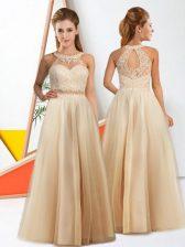 Chic Champagne Chiffon Zipper Halter Top Sleeveless Floor Length Quinceanera Dama Dress Lace