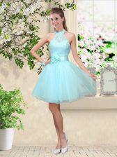 Modern Aqua Blue Lace Up Damas Dress Lace and Belt Sleeveless Knee Length