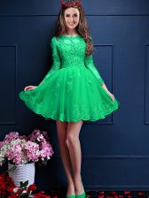 Chiffon Scalloped 3 4 Length Sleeve Lace Up Beading and Lace and Appliques Court Dresses for Sweet 16 in Apple Green
