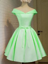 Off The Shoulder Cap Sleeves Taffeta Court Dresses for Sweet 16 Belt Lace Up