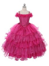 Organza Off The Shoulder Sleeveless Lace Up Ruffles and Ruffled Layers Child Pageant Dress in Fuchsia