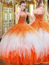 Top Selling Beading and Ruffles Quinceanera Dresses Multi-color Lace Up Sleeveless Floor Length