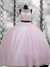 Baby Pink Scoop Zipper Beading and Appliques Quince Ball Gowns Sleeveless