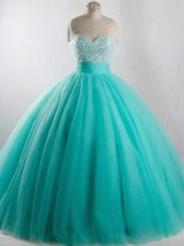 Pretty Sleeveless Tulle Floor Length Lace Up Quinceanera Dress in Turquoise with Beading