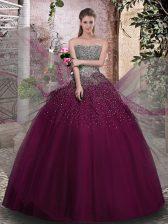 Romantic Purple Sleeveless Beading Floor Length Quince Ball Gowns