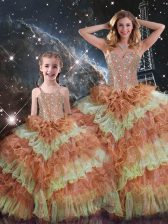 Multi-color Ball Gowns Beading and Ruffled Layers and Sequins Sweet 16 Quinceanera Dress Lace Up Organza Sleeveless Floor Length