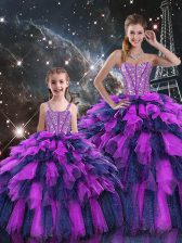 Beading and Ruffles and Ruffled Layers Quinceanera Dress Multi-color Lace Up Sleeveless Floor Length