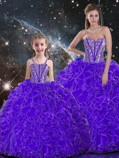 Floor Length Lace Up Sweet 16 Dresses Purple for Military Ball and Sweet 16 and Quinceanera with Beading and Ruffles