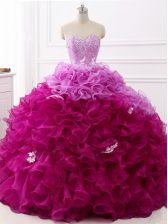 Multi-color Sweetheart Lace Up Beading and Appliques and Ruffles 15 Quinceanera Dress Brush Train Sleeveless