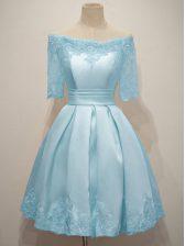 Artistic Light Blue A-line Off The Shoulder Half Sleeves Taffeta Knee Length Lace Up Lace Damas Dress