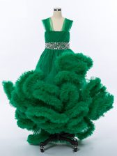 Hot Selling High Low Dark Green Little Girls Pageant Gowns Tulle Sleeveless Beading and Hand Made Flower