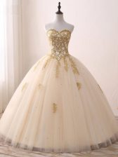 Sweetheart Sleeveless Quinceanera Dress Floor Length Beading and Lace and Appliques Champagne Tulle