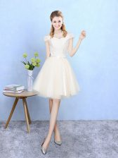 Adorable Champagne Empire Off The Shoulder Cap Sleeves Tulle Knee Length Lace Up Lace Quinceanera Dama Dress