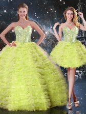 Delicate Sleeveless Tulle Floor Length Lace Up Quinceanera Dress in Yellow Green with Beading and Ruffles