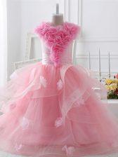 Baby Pink Tulle Zipper Girls Pageant Dresses Sleeveless Floor Length Ruffles and Hand Made Flower