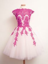 Multi-color Tulle Lace Up Court Dresses for Sweet 16 Sleeveless Mini Length Appliques