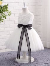 Lovely Mini Length White Kids Pageant Dress Tulle Sleeveless Lace and Bowknot