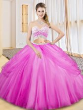 Stunning Two Pieces Quinceanera Dresses Lilac One Shoulder Tulle Sleeveless Floor Length Criss Cross
