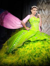 Customized Sweetheart Sleeveless Quinceanera Dresses Brush Train Embroidery and Ruffles Yellow Green Organza