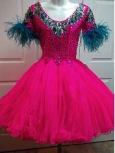 Fuchsia A-line Beading and Sequins Prom Evening Gown Zipper Organza Short Sleeves Mini Length