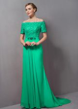 New Arrival Green Chiffon Sweep Train Short Sleeves Lace