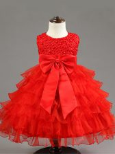 Simple Red Sleeveless Knee Length Ruffled Layers and Bowknot Zipper Girls Pageant Dresses