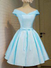 Taffeta Off The Shoulder Cap Sleeves Lace Up Belt Quinceanera Court Dresses in Aqua Blue