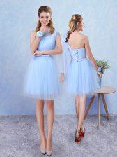 Noble Sleeveless Mini Length Belt Lace Up Vestidos de Damas with Aqua Blue