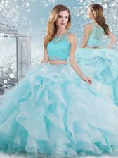 Amazing Floor Length Clasp Handle Quinceanera Gown Aqua Blue for Military Ball and Sweet 16 and Quinceanera with Beading and Ruffles