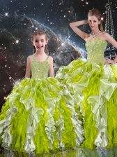 Fine Multi-color Organza Lace Up Quinceanera Dresses Sleeveless Floor Length Beading and Ruffles