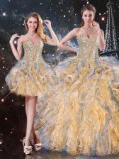 Beading and Ruffles 15th Birthday Dress Gold Lace Up Sleeveless Floor Length
