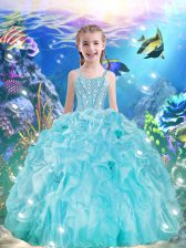 Sleeveless Organza Floor Length Lace Up Little Girl Pageant Gowns in Aqua Blue with Beading and Ruffles