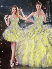 Beading and Ruffles Quinceanera Gown Yellow Lace Up Sleeveless Floor Length