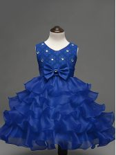 New Style Royal Blue Ball Gowns Lace and Ruffled Layers and Bowknot Child Pageant Dress Zipper Organza Sleeveless Knee Length