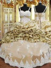 Superior Champagne Sleeveless Beading and Appliques and Ruffled Layers and Pick Ups Floor Length Sweet 16 Dress