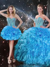 Modest Beading and Ruffles Sweet 16 Quinceanera Dress Baby Blue Lace Up Sleeveless Floor Length