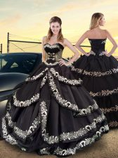 Shining Black Taffeta Lace Up Sweetheart Sleeveless Floor Length Vestidos de Quinceanera Embroidery and Ruffled Layers
