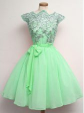 Low Price Cap Sleeves Lace Up Knee Length Lace and Belt Quinceanera Court Dresses