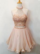 Champagne Sleeveless Knee Length Beading Lace Up Court Dresses for Sweet 16